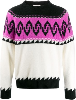 Laneus patterned knit jumper