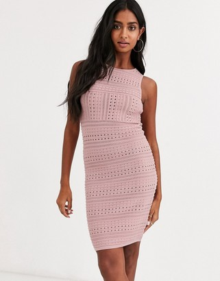 Asos Tall ASOS DESIGN stitch detail stretch knit mini pencil dress