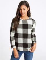 Marks and Spencer Checked Round Neck Long Sleeve Sweatshirt