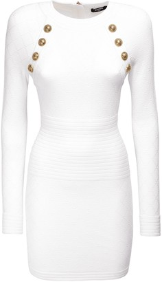 Balmain Fitted Knit Viscose Blend Mini Dress