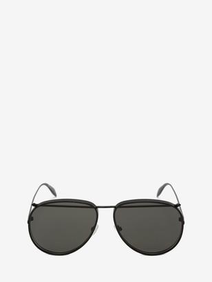 Alexander McQueen Piercing Pilot Metal Sunglasses