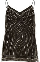 River Island Womens Black studded cami top