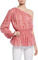 Monique Lhuillier One-Shoulder Long-Sleeve Floral Blouse w/ Smocked Waist
