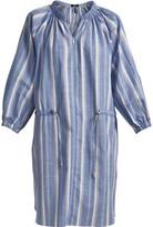 Gisy Blue Stipre Linen Mini Shirt Dress