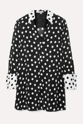 Alice + Olivia Halima Polka-dot Crepe Mini Dress - Black