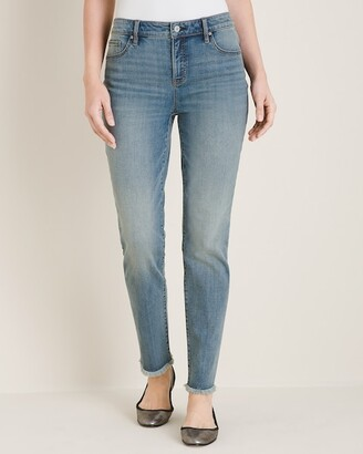 So Slimming Frayed-Hem Girlfriend Ankle Jeans