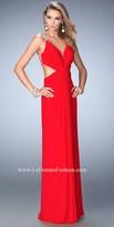 La Femme Ruched Halter Crystal Encrusted Back Straps Prom Dress
