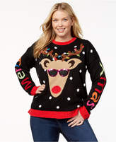 It's Our Time Trendy Plus Size Light-Up Reindeer Sweater