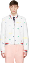 Thom Browne White Funmix Icon Varsity Jacket