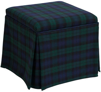 One Kings Lane Anne Skirted Storage Ottoman - Navy Plaid