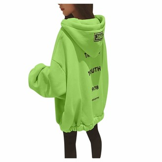 Auifor Women Casual Sweatshirts Chic Simple Long Sleeve Letter Print Oversize Pullover Jumper Daily Tops Blouse(Green L