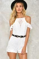 Nasty Gal Dreaming From the Waist Crochet Lace Romper