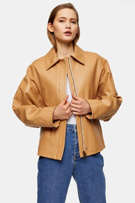 Topshop Womens **Camel Clean Leather Biker Jacket By Camel