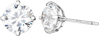 Love Gold 9ct White Gold White Cubic Zirconia 6mm Round Solitaire Stud Earrings