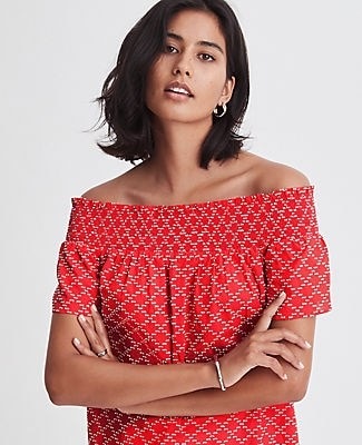Ann Taylor Petite Geo Clip Smocked Off The Shoulder Top