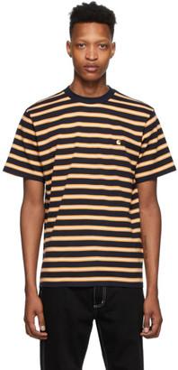 Carhartt Work In Progress Navy and Yellow Stripe Oakland T-Shirt