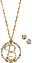 Charter Club Gold-Tone Crystal Initial Pendant Necklace and Stud Earring Boxed Set