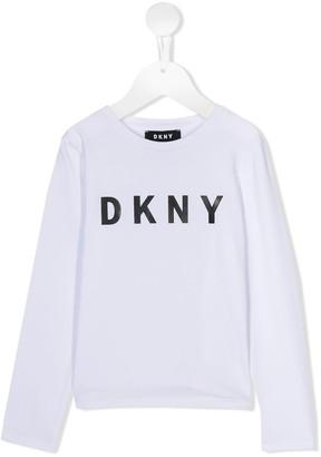 DKNY Logo Print Jersey Top