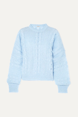 Miu Miu Oversized Cable-knit Mohair-blend Sweater - Blue