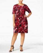 Connected Plus Size Floral-Print Faux-Wrap Sheath Dress