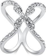 GUESS Silver-Tone Pavé X Ring