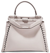 Fendi Peekaboo Medium Whipstitched Leather Tote - Stone