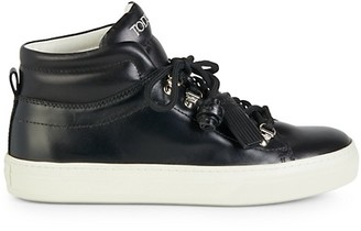 Tod's High-Top Speed-Lace Leather Sneakers