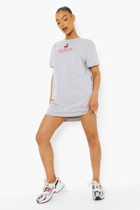 boohoo Embroidered Cherry T Shirt Dress