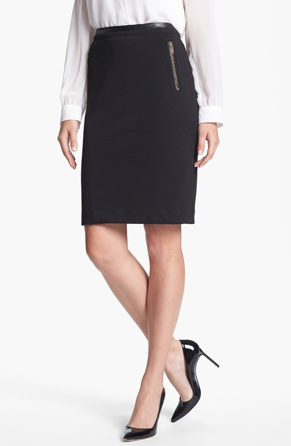 Calvin Klein Zip Pocket Pencil Skirt