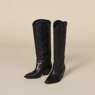 Sandro Quilted Leather Tall Cowboy Boots