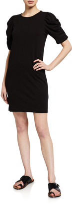 Frame Gathered Short-Sleeve Dress