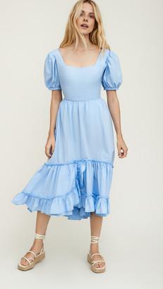 ENGLISH FACTORY Square Neck Ruffle Dress