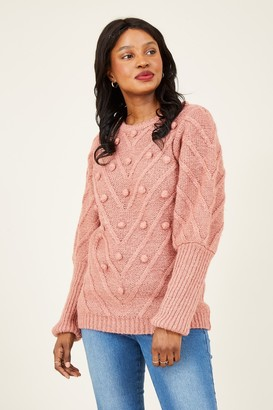 Yumi Pink Bobble Knitted Jumper