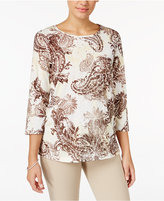 Alfred Dunner Petite Twilight Point Embellished Paisley Top