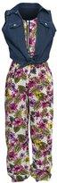 RMLA Little Girls Floral Print Zipper Jumpsuit Knot Denim Vest Outfit
