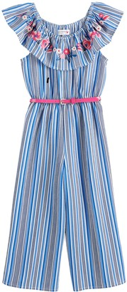 Knitworks Girls 4-6x Striped Jumpsuit with Embroidered Neck Ruffle and Belt