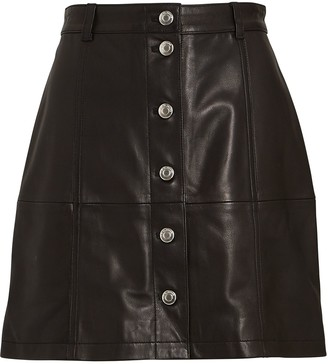 IRO Leather Button-Front Mini Skirt