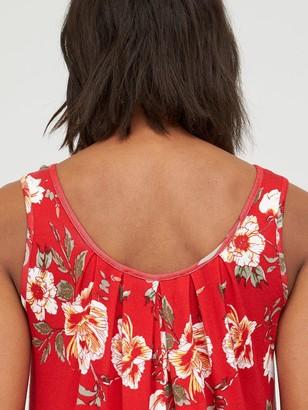 Very Scoop Neck Bubble Hem Vest - Red Print