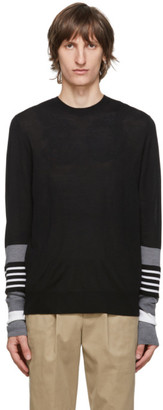 Neil Barrett Black Wool Crewneck Stripe Sweater