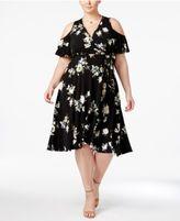Soprano Trendy Plus Size Floral-Print Cold-Shoulder Dress