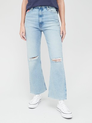 Tommy Jeans Harper High Rise Ripped Flare Jeans - Light Wash