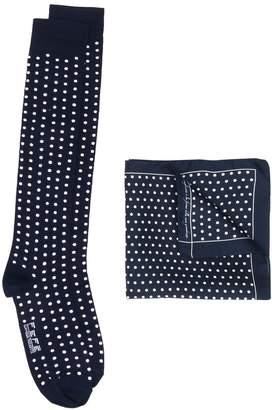 fe-fe patterned socks and handkerchief set