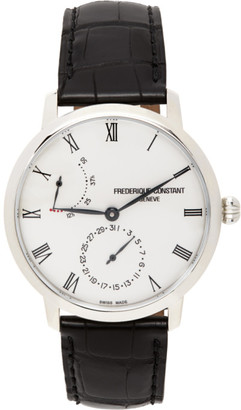 Frederique Constant Silver and Black Slimline Power Reserve Manufacture Watch