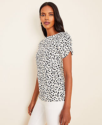 Ann Taylor Petite Shadow Spot Puff Sleeve Pima Cotton Tee
