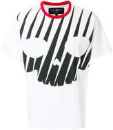 Hydrogen stripe skull print T-shirt