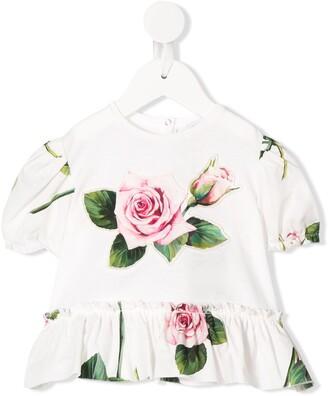 Dolce & Gabbana Kids floral print puff sleeve T-shirt