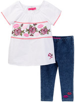 Betsey Johnson Embroidered Top & Knit Denim Legging Set (Little Girls)