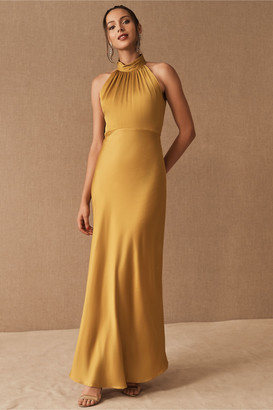 BHLDN Cortland High Neck Satin Dress