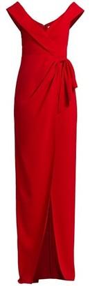 ML Monique Lhuillier Off-The-Shoulder Side Slit Crepe Gown