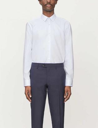 BOSS Spread collar cotton shirt